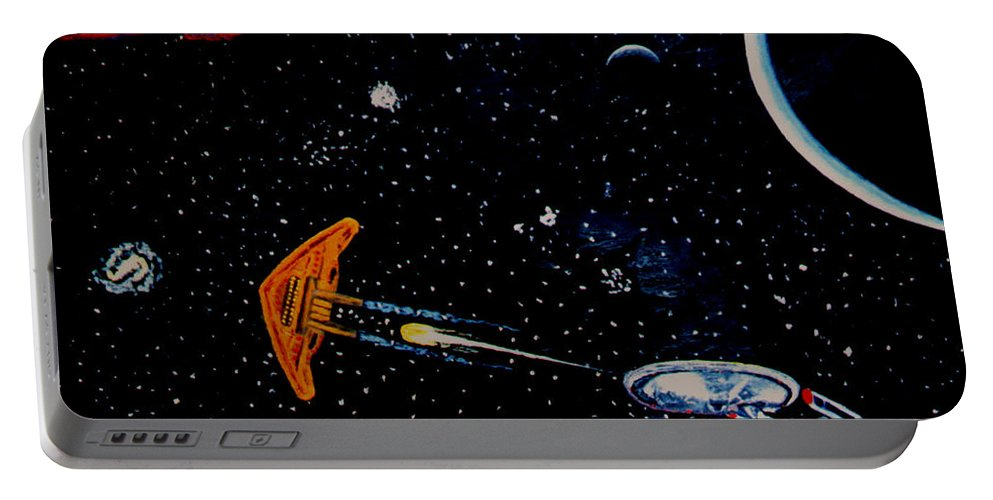 Startrel.scoemce Foxopm.s[ace.[;amets.stars Portable Battery Charger featuring the painting Startrek by Stan Hamilton