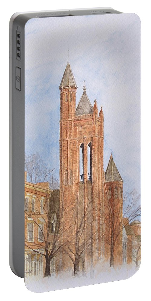 Gothic Portable Battery Charger featuring the painting State Street Church by Dominic White