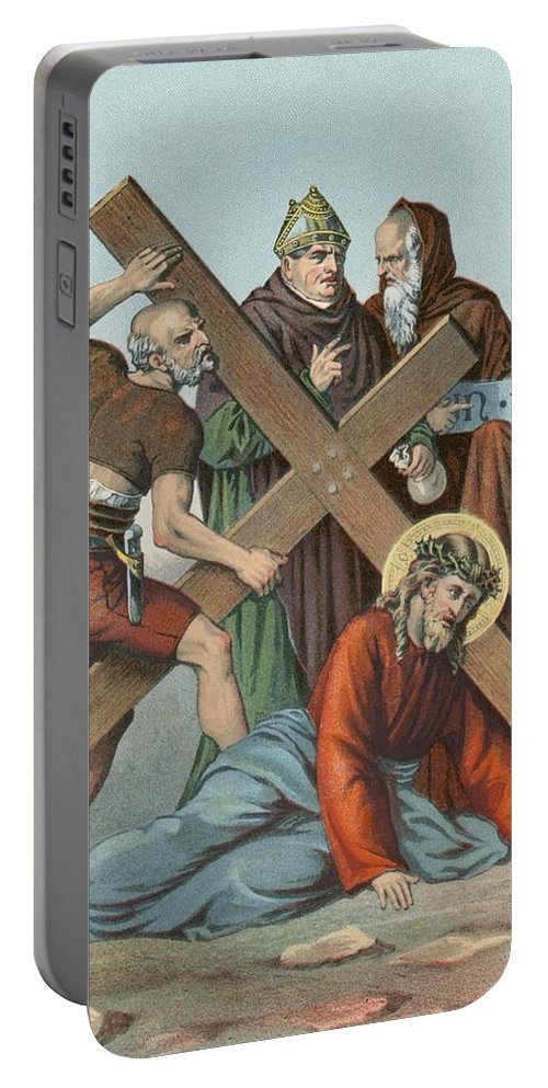 Catholic; Bible; Religion; Truth; Station Ix; Jesus Falls; Cross; Time Portable Battery Charger featuring the painting Station Ix Jesus Falls Under The Cross The Third Time by English School