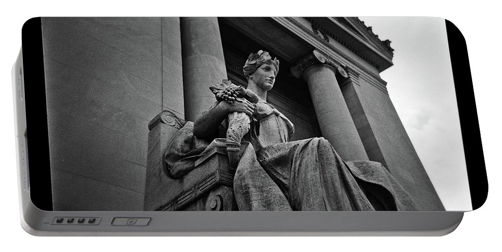 Authority Statue Portable Battery Charger featuring the photograph Statue Of Justice At The Courthouse In Memphis Tennessee by David Wolanski