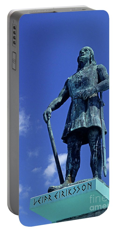 Art Portable Battery Charger featuring the photograph Statue Of Leif Ericksson by Jim Corwin