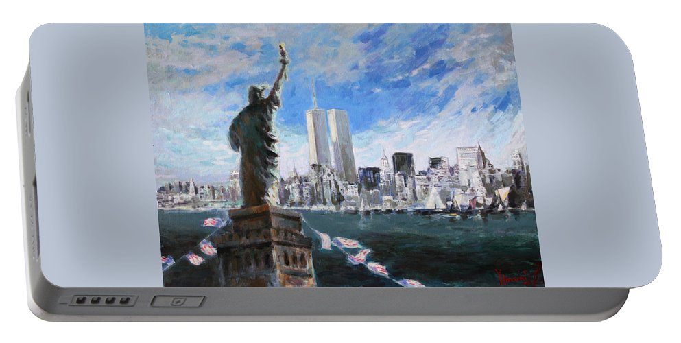 Landscape Portable Battery Charger featuring the painting Statue Of Liberty And Tween Towers by Ylli Haruni