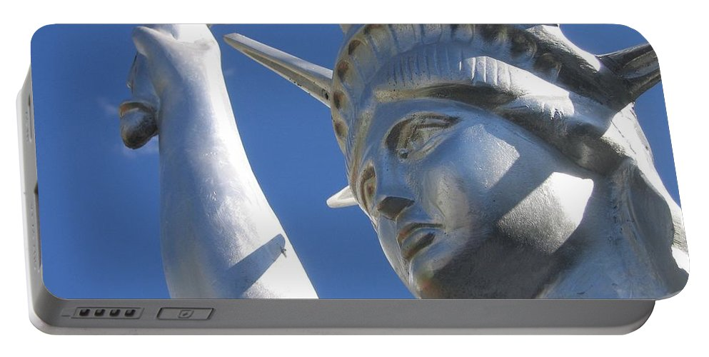 Statue Of Liberty Restaurant Courtyard Chandler Arizona 2005 Portable Battery Charger featuring the photograph Statue Of Liberty Restaurant Courtyard Chandler Arizona 2005 by David Lee Guss
