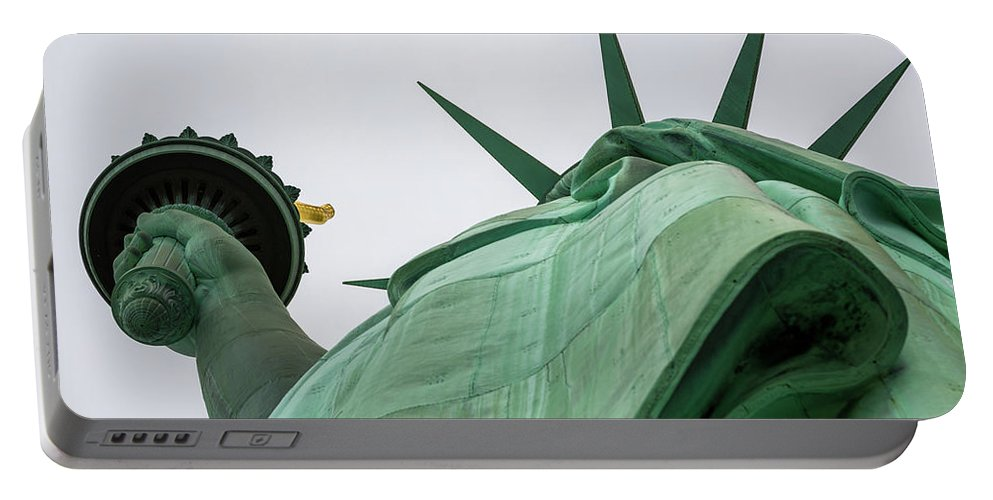 4th Of July Portable Battery Charger featuring the photograph Statue Of Liberty, Torch And Crown by Marco Catini