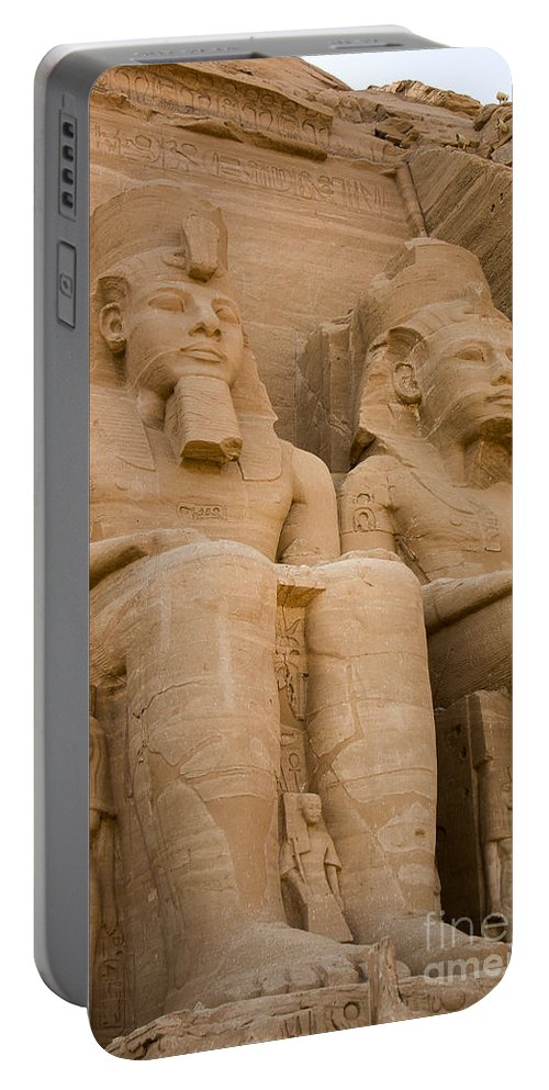 Abu Simbel Portable Battery Charger featuring the photograph Statues At Abu Simbel by Darcy Michaelchuk