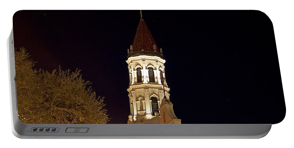 St. Augustine Portable Battery Charger featuring the photograph St.augustinespire by Kenneth Albin