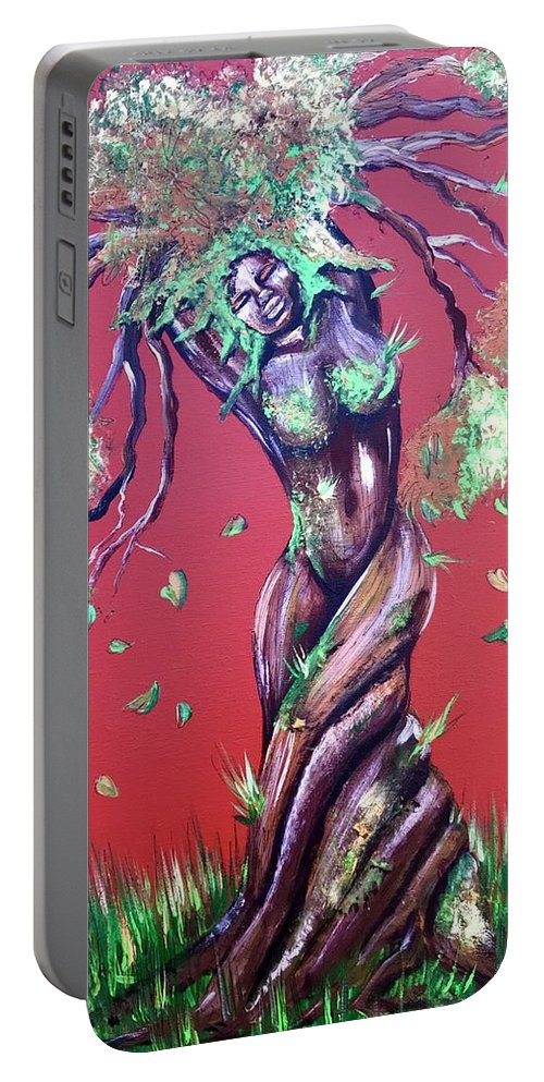 Tree Portable Battery Charger featuring the painting Stay Rooted- Stay Grounded by Artist RiA