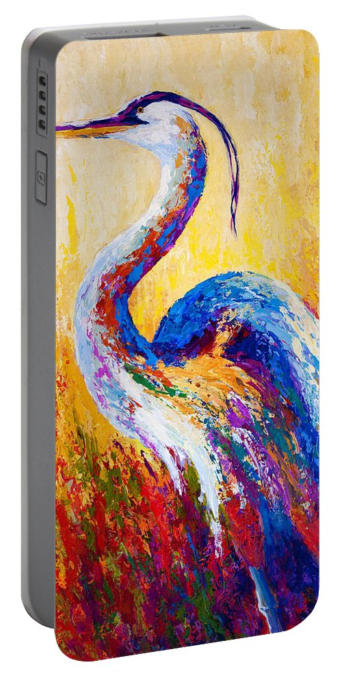 Heron Portable Battery Charger featuring the painting Steady Gaze - Great Blue Heron by Marion Rose