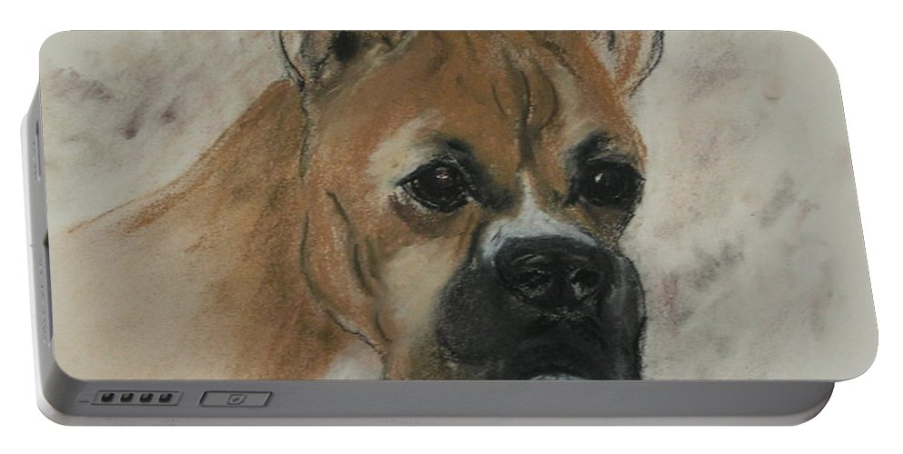 Dog Portable Battery Charger featuring the drawing Steady Goes It by Cori Solomon
