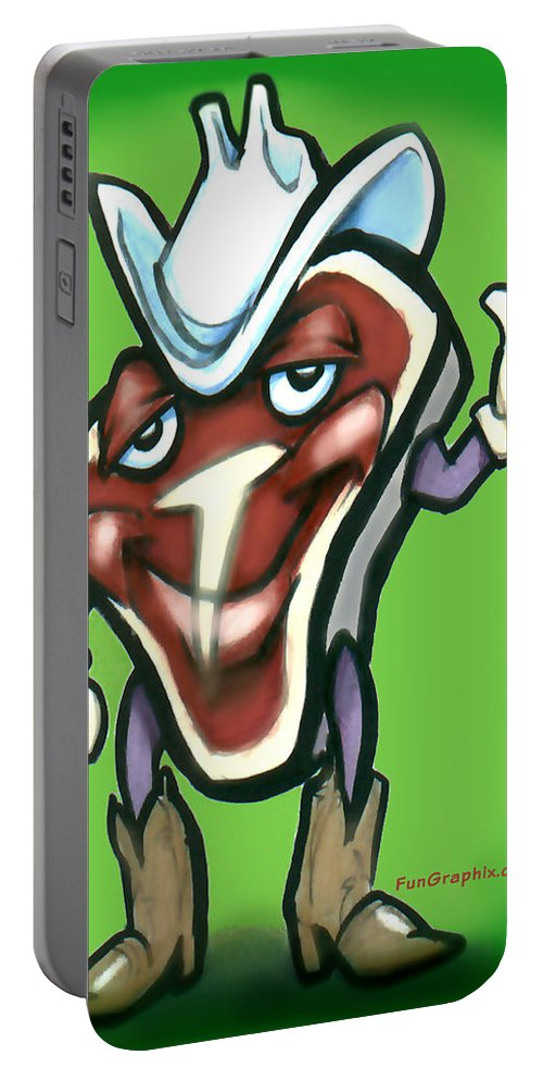 Steak Portable Battery Charger featuring the digital art Steak by Kevin Middleton