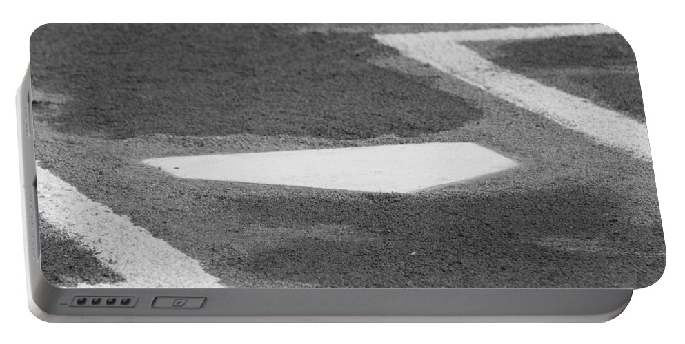 Home Plate Portable Battery Charger featuring the photograph Stealing Home by Laddie Halupa