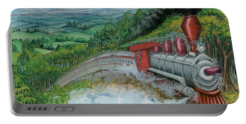 Train Portable Battery Charger featuring the painting Steam Train by Kevin Middleton