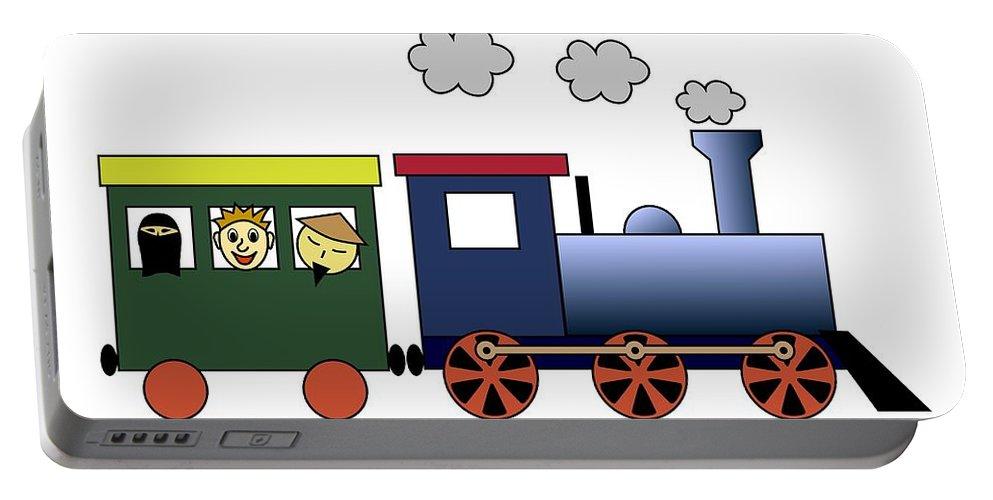 Boxcar Portable Battery Charger featuring the digital art Steam Train by Miroslav Nemecek