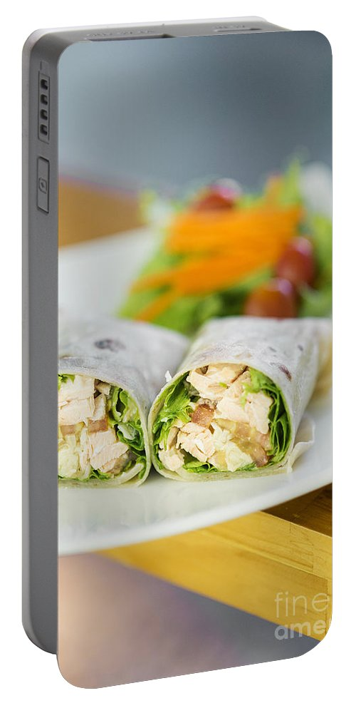 Conscious Portable Battery Charger featuring the photograph Steamed Salmon And Salad Wrap by Jacek Malipan