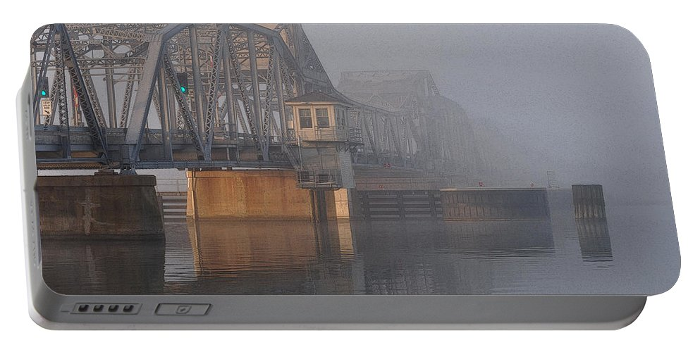 Steel Bridge Portable Battery Charger featuring the photograph Steel Bridge In Fog by Tim Nyberg