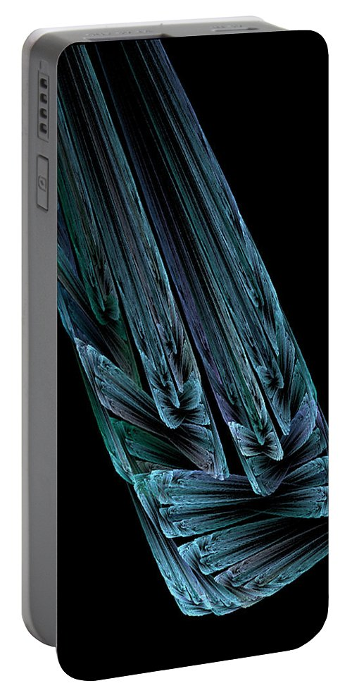 Abstract Portable Battery Charger featuring the digital art Steel Feathers by Andrea Lawrence