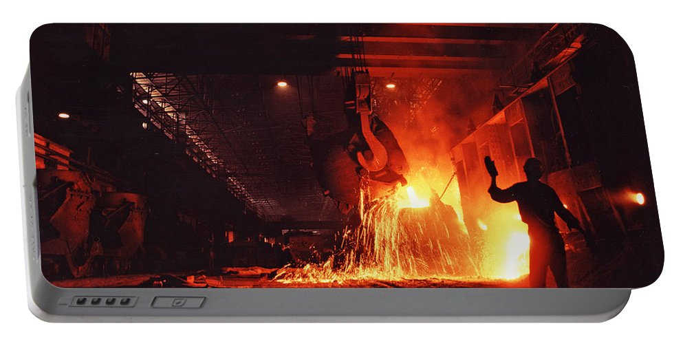 Steel Mill Portable Battery Charger featuring the photograph Steel Mill--china by Steve Williams