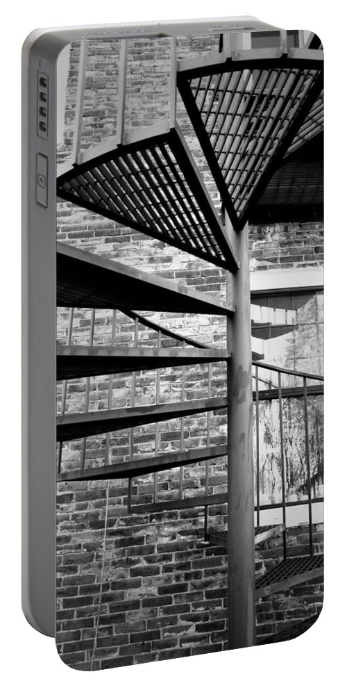 Brick Portable Battery Charger featuring the photograph Steel Spiral by Greg Fortier