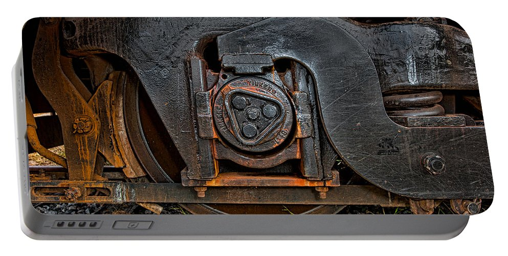 Train Portable Battery Charger featuring the photograph Steel Wheel Of Progess by Christopher Holmes