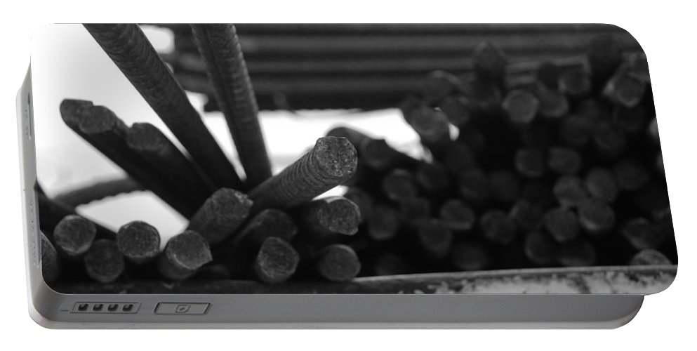 Black And White Portable Battery Charger featuring the photograph Steele Rods by Rob Hans