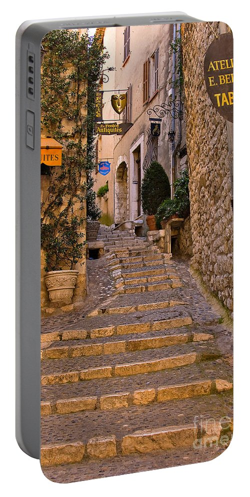 Travel Portable Battery Charger featuring the photograph Steep Street In St Paul De Vence by Louise Heusinkveld