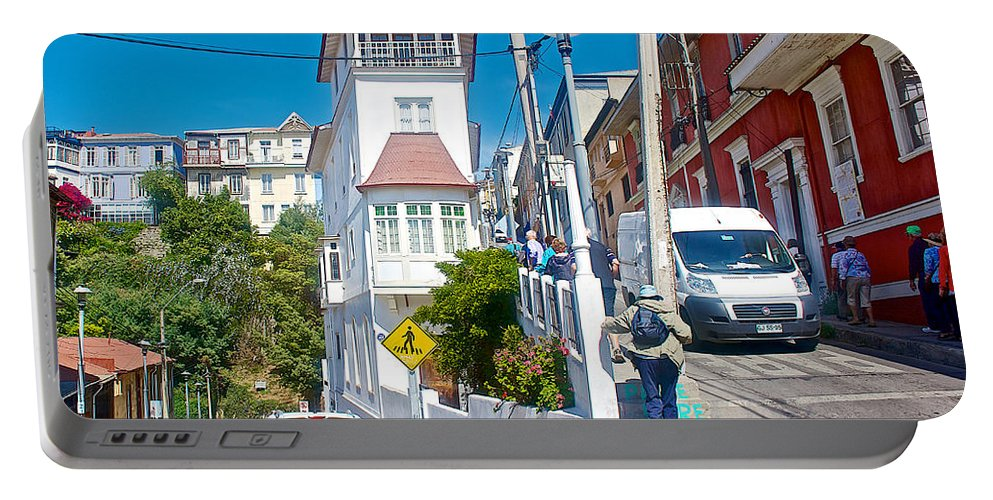 Steep Streets Up The Hills In Valparaiso Portable Battery Charger featuring the photograph Steep Streets Up The Hills In Valparaiso-chile  by Ruth Hager