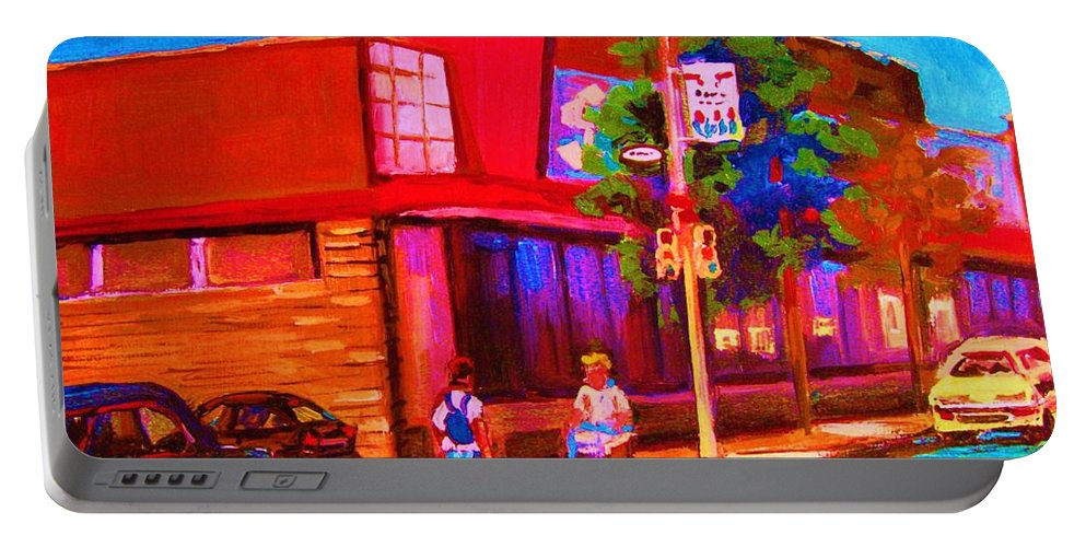 Steinbergs Portable Battery Charger featuring the painting Steinbergs Supermarket by Carole Spandau