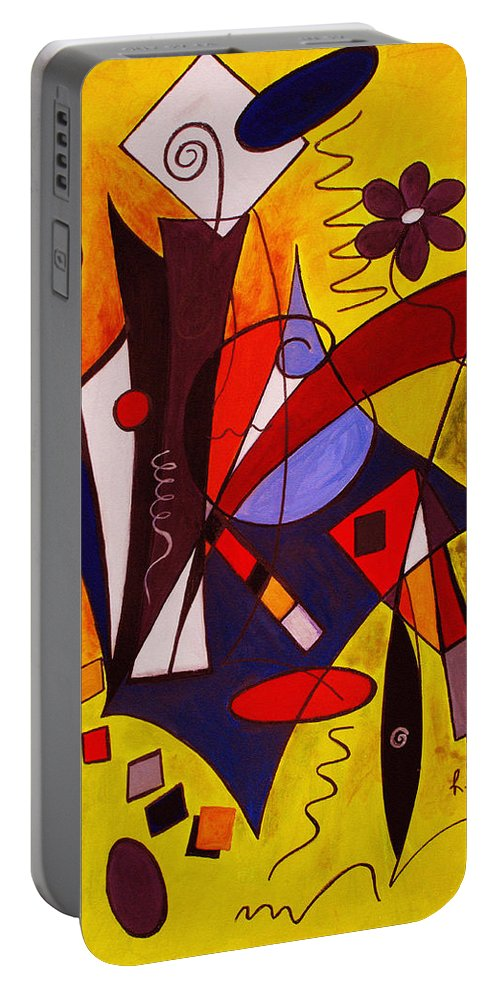 Abstract Portable Battery Charger featuring the painting Step Lively Now by Ruth Palmer