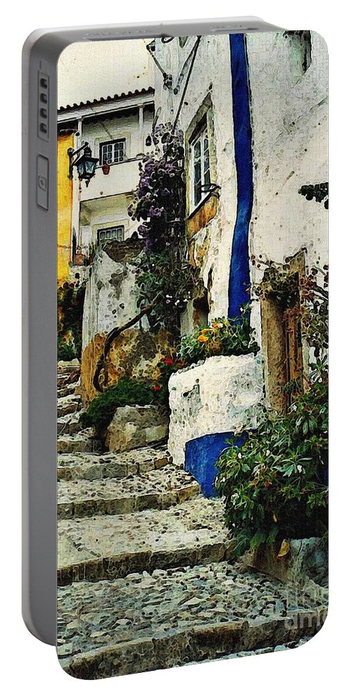 Village Portable Battery Charger featuring the photograph Step Street In Obidos by Sarah Loft
