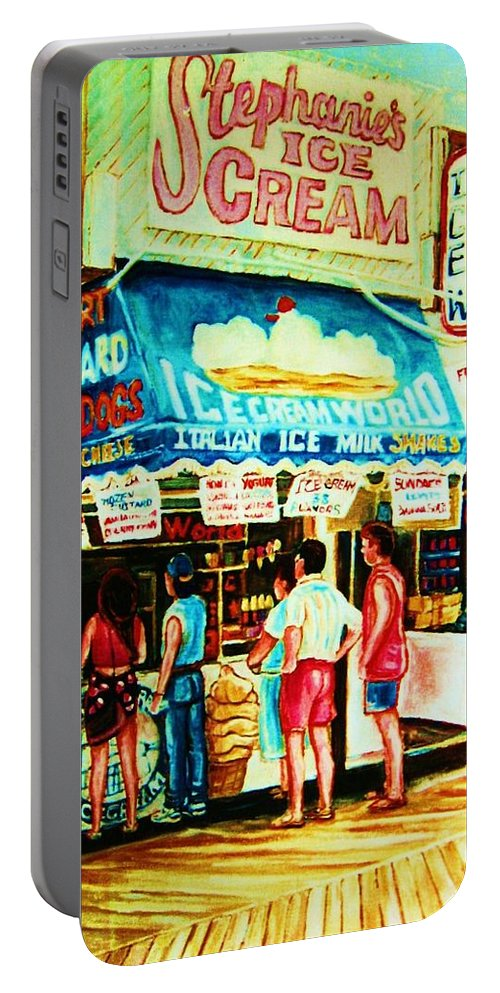 Children Portable Battery Charger featuring the painting Stephanies Icecream Stand by Carole Spandau