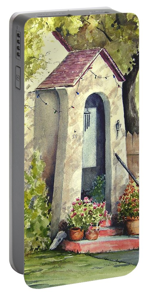 Door Portable Battery Charger featuring the painting Stephanie's Porch by Sam Sidders