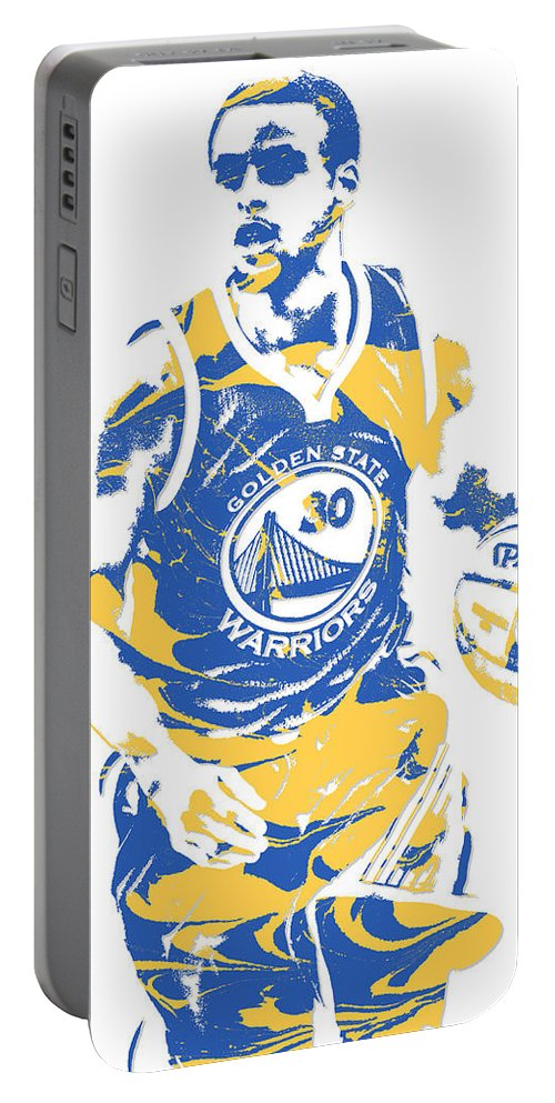 Stephen Curry Portable Battery Charger featuring the mixed media Stephen Curry Golden State Warriors Pixel Art 21 by Joe Hamilton