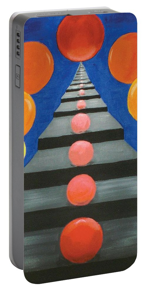 Abstract Portable Battery Charger featuring the painting Steps And Circles by Nancy Sisco