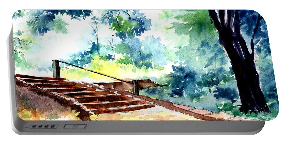 Landscape Portable Battery Charger featuring the painting Steps To Eternity by Anil Nene