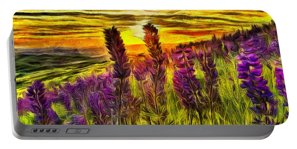Lupine Portable Battery Charger featuring the mixed media Steptoe Lupine by Mark Kiver