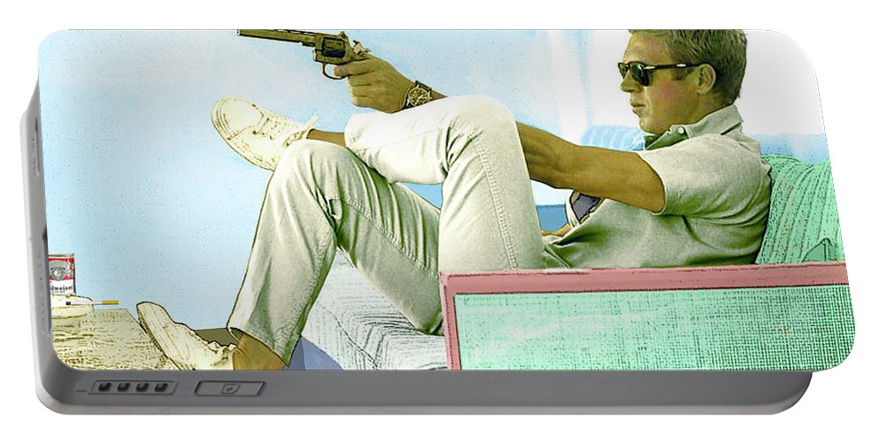 Steve Mcqueen Portable Battery Charger featuring the mixed media Steve McQueen, Colt revolver, Palm Springs, CA by Thomas Pollart