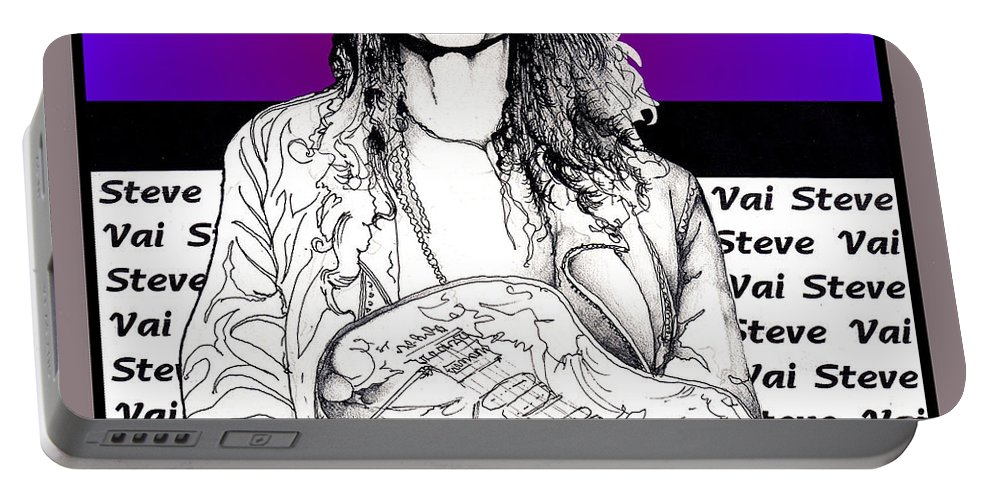 Steve Vai Portable Battery Charger featuring the mixed media Steve Vai Sitting by Curtiss Shaffer