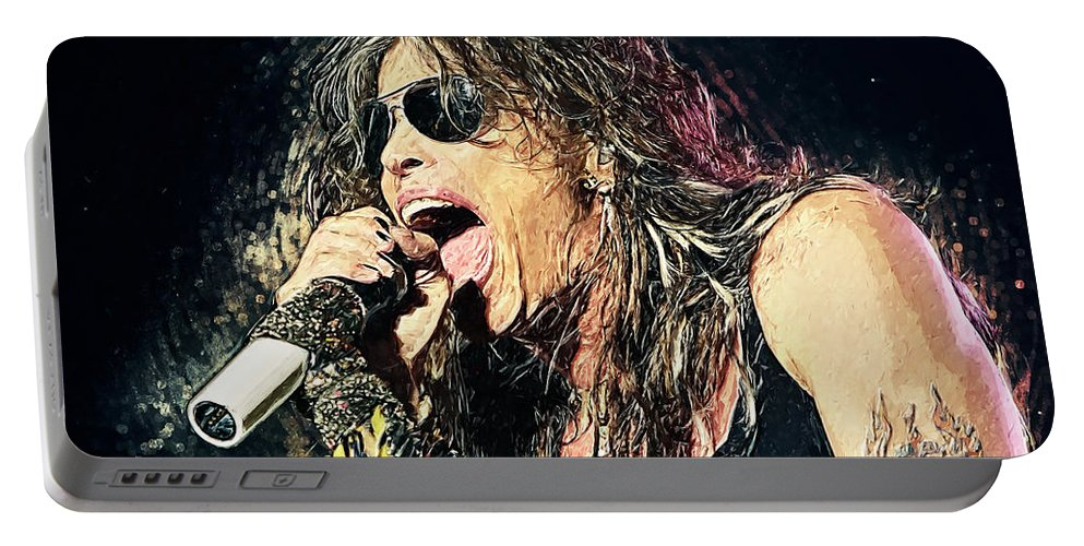 Steven Tyler Portable Battery Charger featuring the digital art Steven Tyler by Zapista