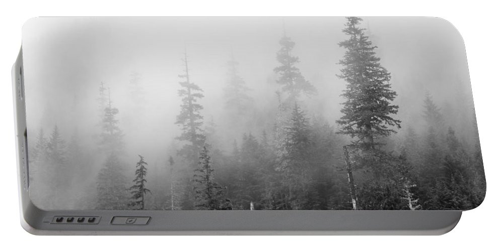 Stevens Portable Battery Charger featuring the photograph Stevens Pass Trees And Fog 3201 by Bob Neiman