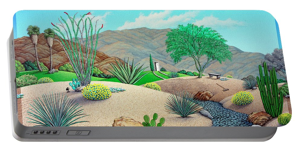 Landscape Portable Battery Charger featuring the painting Steve's Yard by Snake Jagger