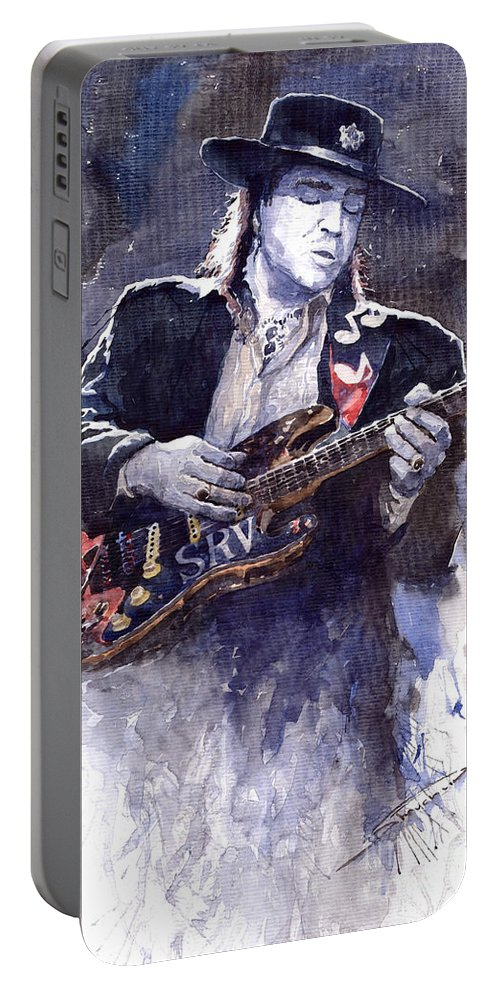 Guitarist Portable Battery Charger featuring the painting Stevie Ray Vaughan 1 by Yuriy Shevchuk