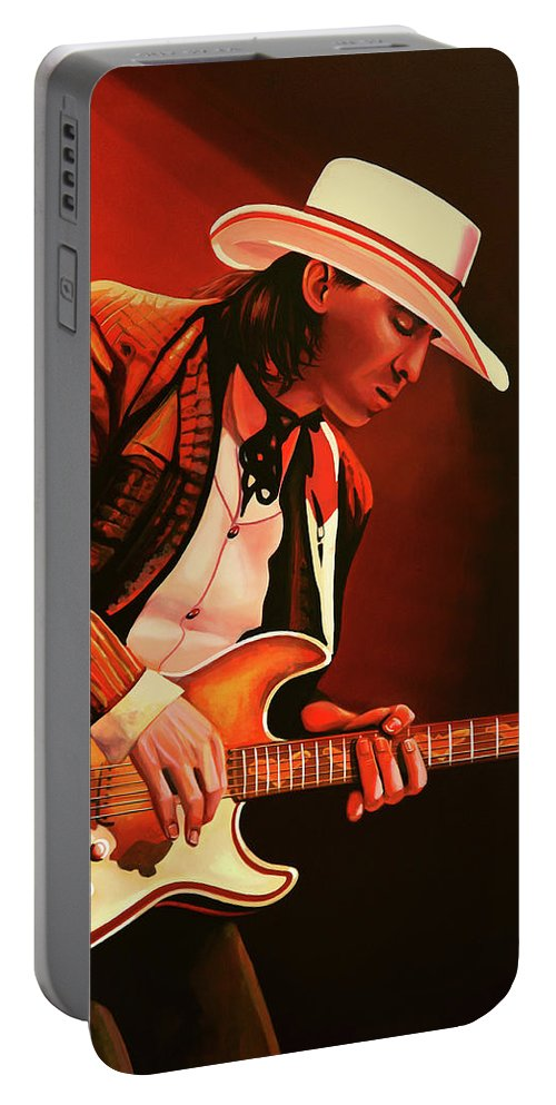 Stevie Ray Vaughan Portable Battery Charger featuring the painting Stevie Ray Vaughan Painting by Paul Meijering