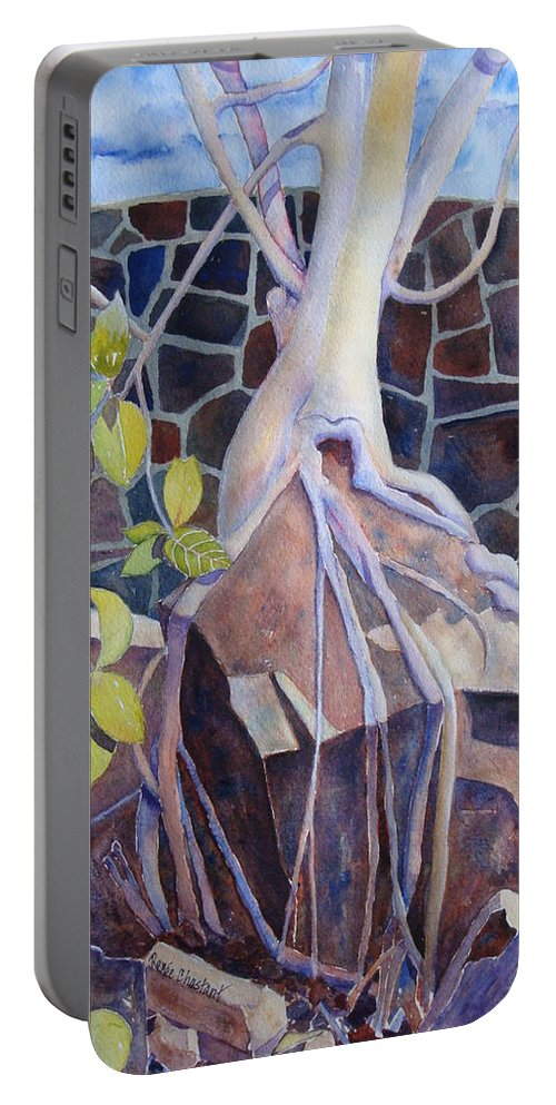 Tree Portable Battery Charger featuring the painting Sticks And Stones by Renee Chastant
