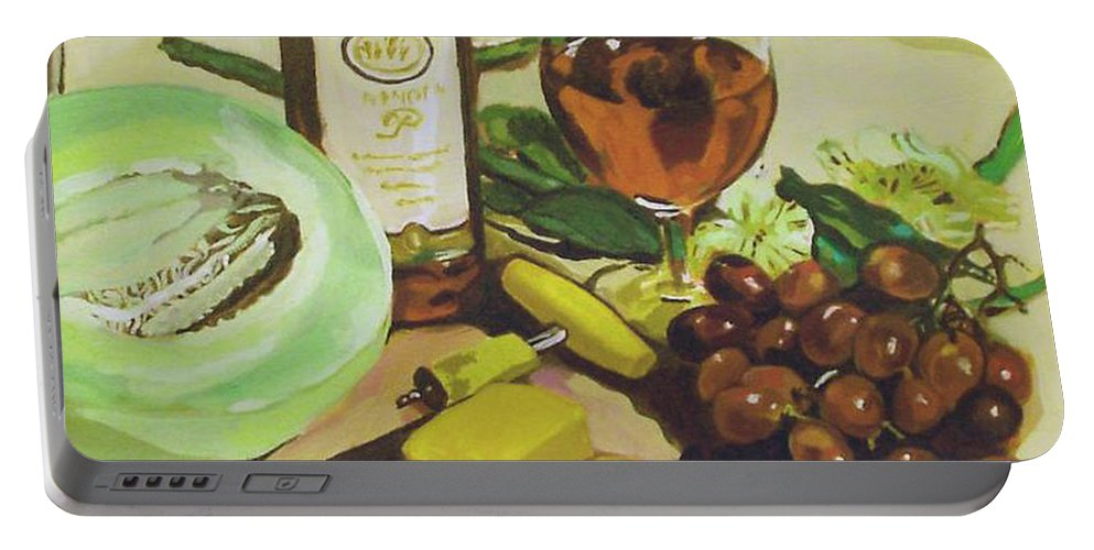 Wine Portable Battery Charger featuring the painting Still Life 2 by Jeanne Russell