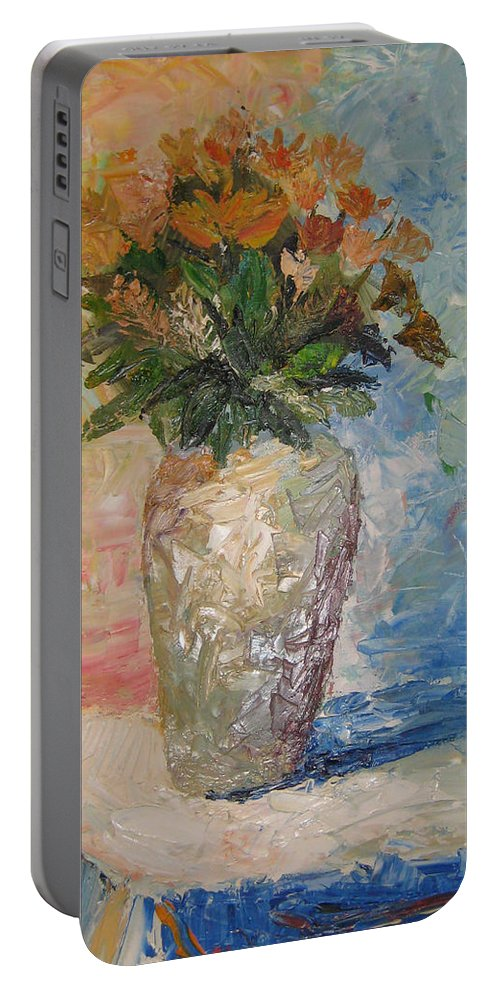 Still Life Vase Flowers Portable Battery Charger featuring the painting Still Life Flowers by Maria Kobalyan