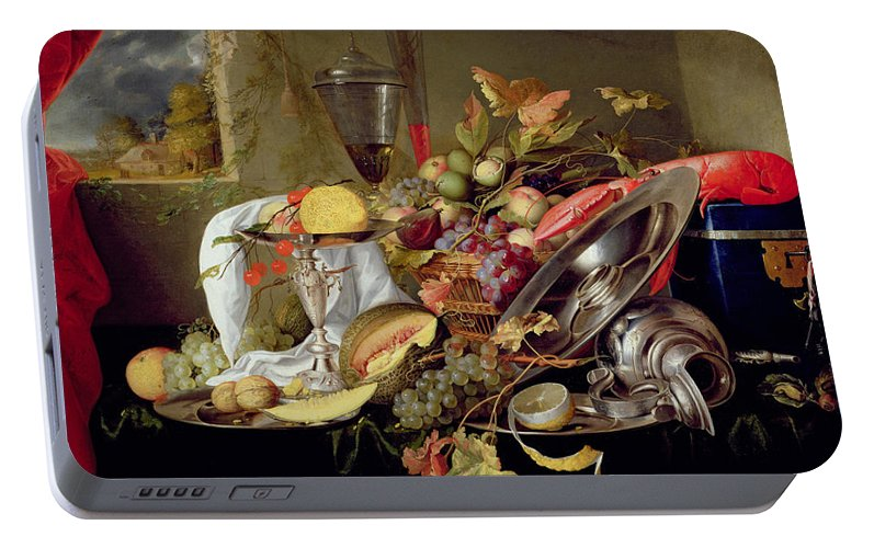 Still Lives Portable Battery Charger featuring the painting Still Life by Jan Davidsz Heem