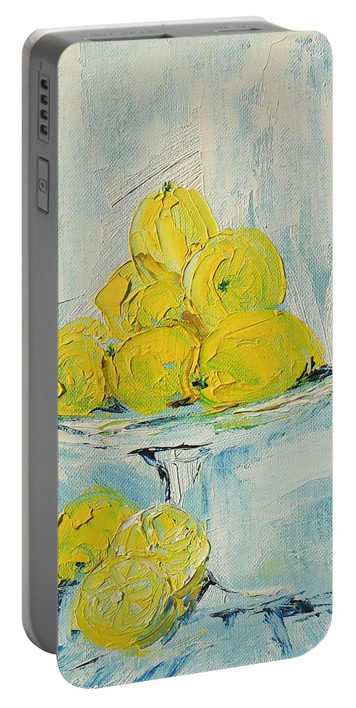 Oil Portable Battery Charger featuring the painting Still Life - Lemons by Shirley Heyn