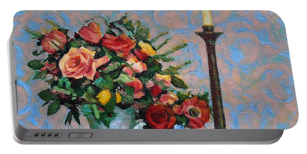 Flowers Portable Battery Charger featuring the painting Still Life With A Lamp by Iliyan Bozhanov