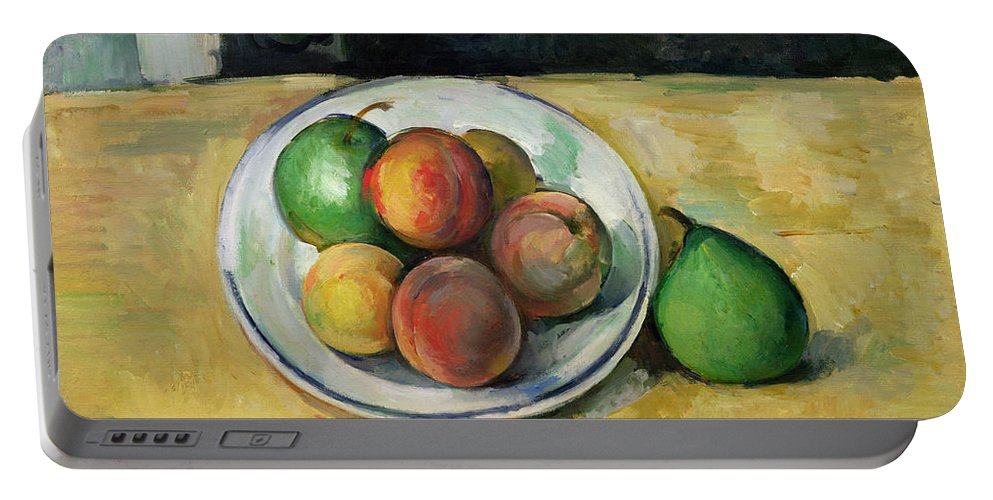 Still Portable Battery Charger featuring the painting Still Life With A Peach And Two Green Pears by Paul Cezanne