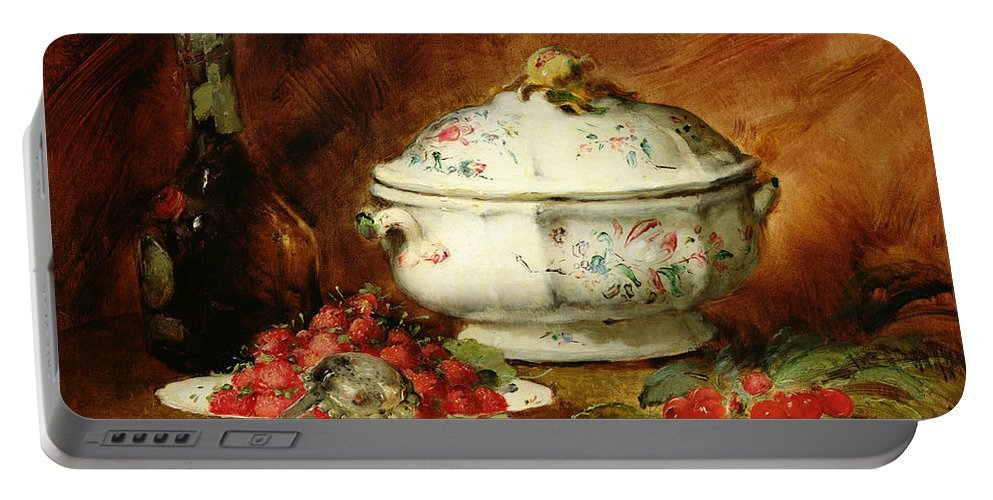 Still Portable Battery Charger featuring the painting Still Life With A Soup Tureen by Guillaume Romain Fouace